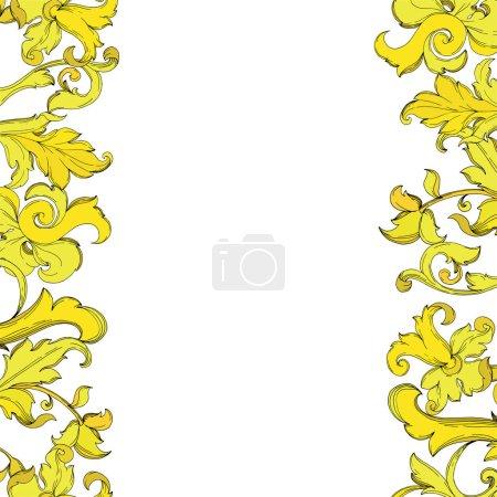 Illustration pour Vector Ornement floral monogramme or. Conception baroque éléments isolés. Encre noire et blanche gravée. Cadre ornement de bordure carré sur fond blanc. - image libre de droit