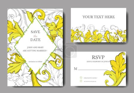 Illustration for Vector Gold monogram floral ornament. Black and white engraved ink art. Wedding background card decorative border. Thank you, rsvp, invitation elegant card illustration graphic set banner. - Royalty Free Image