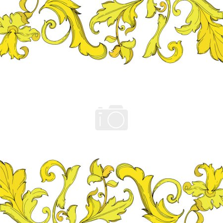 Illustration for Vector Gold monogram floral ornament. Baroque design isolated elements. Black and white engraved ink art. Frame border ornament square on white background. - Royalty Free Image
