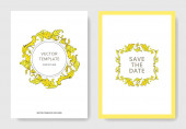 Vector Gold monogram floral ornament Black and white engraved ink art Wedding background card decorative border