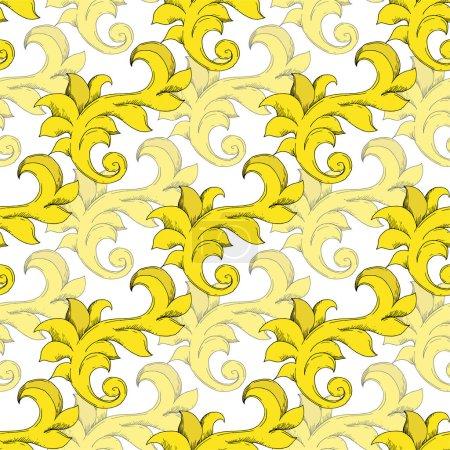 Ilustración de Vector Monograma de Oro ornamento floral. Elementos de diseño barroco. Arte de tinta grabada en blanco y negro. Modelo de fondo sin costuras. Fabric wallpaper imprime textura. - Imagen libre de derechos