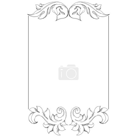 Illustration for Vector Baroque monogram floral ornament. Baroque design elements. Black and white engraved ink art. Frame border ornament square on white background. - Royalty Free Image