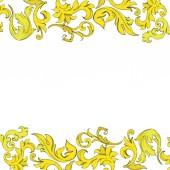 Vector Golden monogram floral ornament Black and white engraved ink art Frame border ornament square