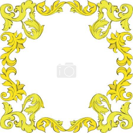 Illustration for Vector Golden monogram floral ornament. Baroque design elements. Black and white engraved ink art. Frame border ornament square on white background. - Royalty Free Image