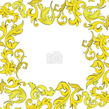 Illustration for Vector Golden monogram floral ornament. Baroque design elements. Black and white engraved ink art. Frame border ornament square on white background. - Royalty Free Image