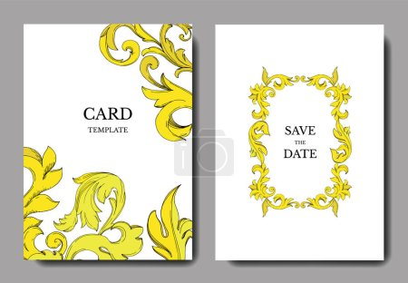 Illustration for Vector Golden monogram floral ornament. Black and white engraved ink art. Wedding background card decorative border. Thank you, rsvp, invitation elegant card illustration graphic set banner. - Royalty Free Image