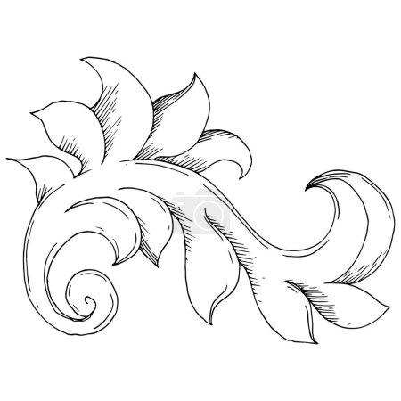 Illustration for Vector Golden Monogram floral ornament. Baroque design elements. Black and white engraved ink art. Isolated ornaments illustration element on white background. - Royalty Free Image