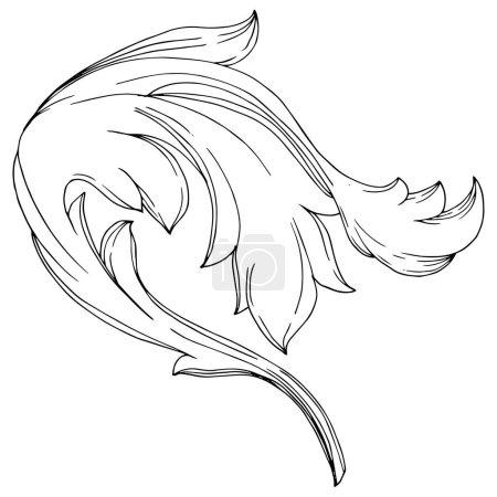 Illustration pour Vector Golden Monogram ornement floral. Éléments de conception baroque. Encre noire et blanche gravée. Élément d'illustration des ornements isolés sur fond blanc. - image libre de droit