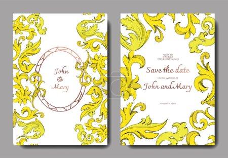 Illustration for Vector Golden monogram floral ornament. Black and white engraved ink art. Wedding background card decorative border. Thank you, rsvp, invitation elegant card illustration graphic set banner. - Royalty Free Image