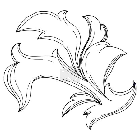 Illustration pour Vector Ornement floral de monogramme doré. Conception baroque éléments isolés. Encre noire et blanche gravée. Éléments d'illustration de monogrammes isolés. - image libre de droit