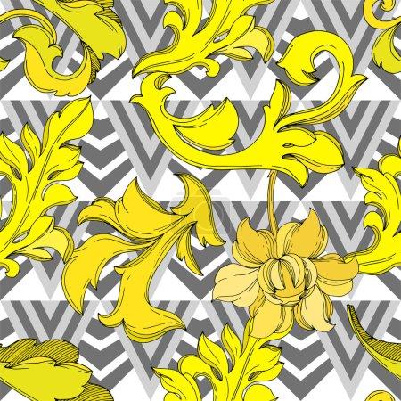 Illustration pour Vector Ornement floral de monogramme doré. Conception baroque éléments isolés. Encre noire et blanche gravée. Schéma de fond homogène. Texture des papiers peints en tissu. - image libre de droit