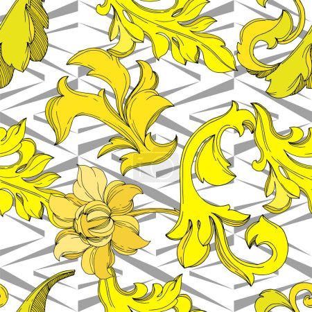 Illustration for Vector Golden monogram floral ornament. Baroque design isolated elements. Black and white engraved ink art. Seamless background pattern. Fabric wallpaper print texture. - Royalty Free Image