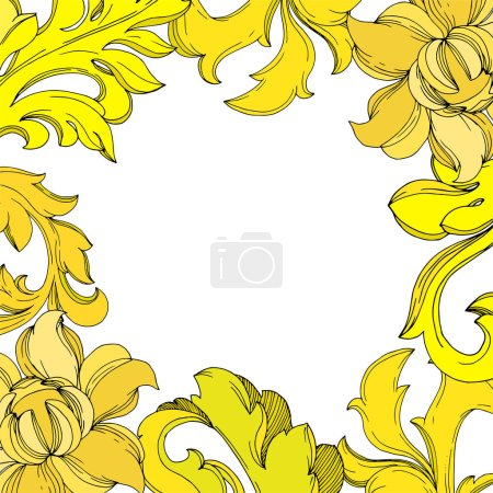 Illustration for Vector Golden monogram floral ornament. Baroque design isolated elements. Black and white engraved ink art. Frame border ornament square on white background. - Royalty Free Image
