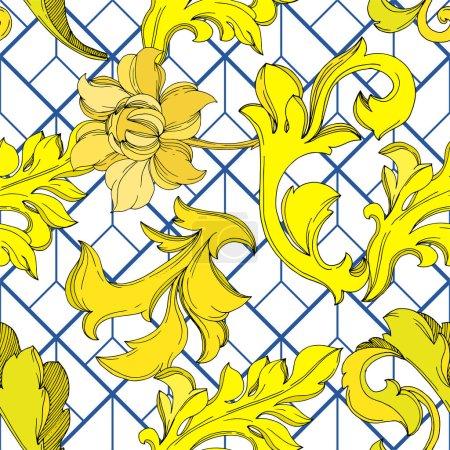 Ilustración de Vector Monograma de Oro ornamento floral. Diseño barroco elementos aislados. Arte de tinta grabada en blanco y negro. Modelo de fondo sin costuras. Fabric wallpaper imprime textura. - Imagen libre de derechos