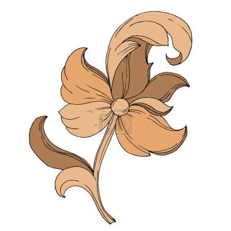 Ilustración de Vector Monograma de Oro ornamento floral. Elementos de diseño barroco. Elemento ilustrativo ornamental aislado sobre fondo blanco. Arte de tinta grabada en blanco y negro. - Imagen libre de derechos