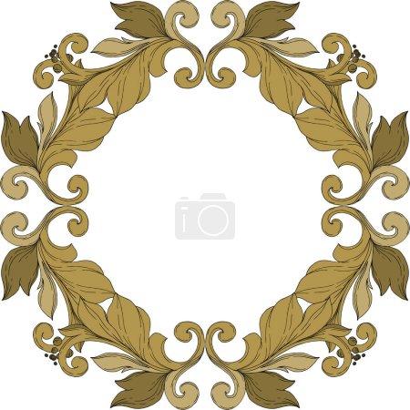 Illustration pour Vector Ornement floral de monogramme doré. Éléments de conception baroque. Encre noire et blanche gravée. Cadre ornement de bordure carré sur fond blanc. - image libre de droit