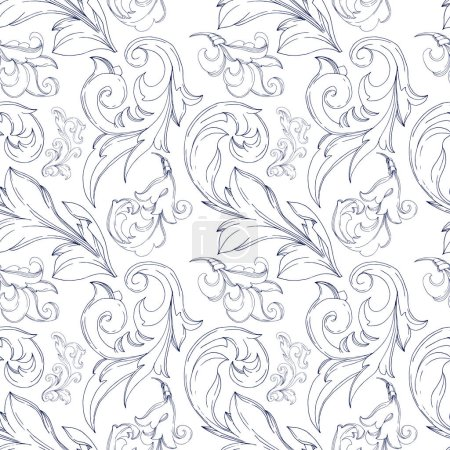 Illustration for Vector Baroque monogram floral ornament. Vintage design elements. Black and white engraved ink art. Seamless background pattern. Fabric wallpaper print texture. - Royalty Free Image
