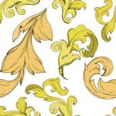Vector Golden monogram floral ornament Black and white engraved ink art Seamless background pattern