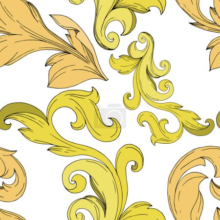 Illustration for Vector Golden monogram floral ornament. Baroque design elements. Black and white engraved ink art. Seamless background pattern. Fabric wallpaper print texture. - Royalty Free Image