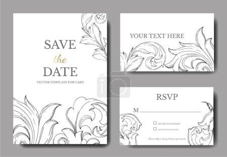 Illustration for Vector Baroque monogram floral ornament. Black and white engraved ink art. Wedding background card floral decorative border. Thank you, rsvp, invitation elegant card illustration graphic set banner. - Royalty Free Image