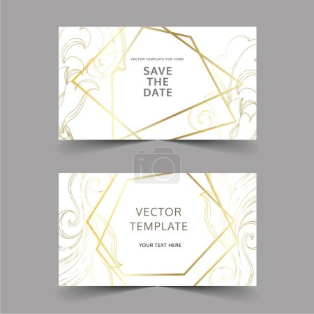 Illustration for Vector Golden monogram floral ornament. Black and white engraved ink art. Wedding background card floral decorative border. Thank you, rsvp, invitation elegant card illustration graphic set banner. - Royalty Free Image