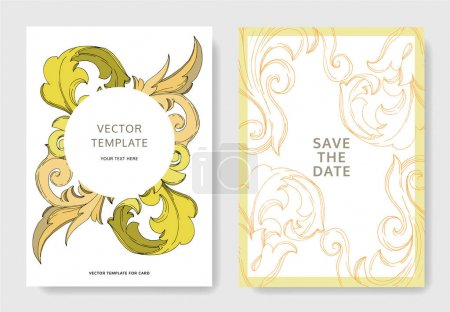Illustration pour Vector Golden monogram floral ornament. Black and white engraved ink art. Wedding background card floral decorative border. Thank you, rsvp, invitation elegant card illustration graphic set banner. - image libre de droit