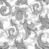 Vector Baroque monogram floral ornament Black and white engraved ink art Seamless background pattern