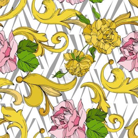 Illustration pour Vector Ornement floral de monogramme doré. Éléments de conception baroque. Encre noire et blanche gravée. Schéma de fond homogène. - image libre de droit