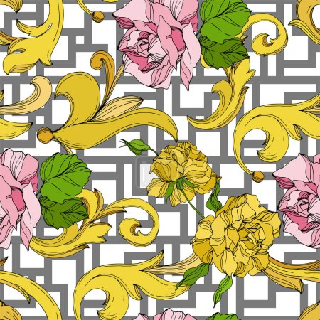 Illustration for Vector Golden monogram floral ornament. Baroque design elements. Black and white engraved ink art. Seamless background pattern. - Royalty Free Image
