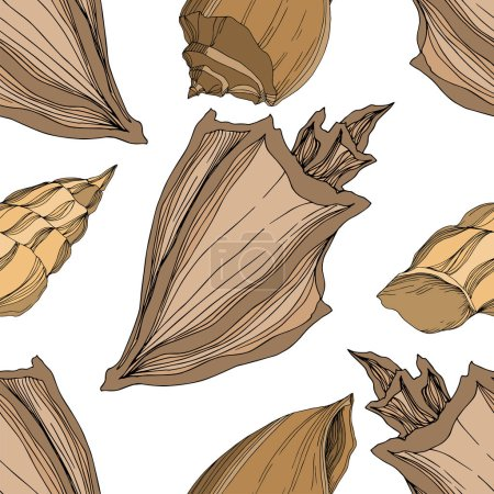Illustration for Vector Summer beach seashell tropical elements. Brown beige Engraved ink art. Seamless background pattern. Fabric wallpaper print texture on white background. - Royalty Free Image