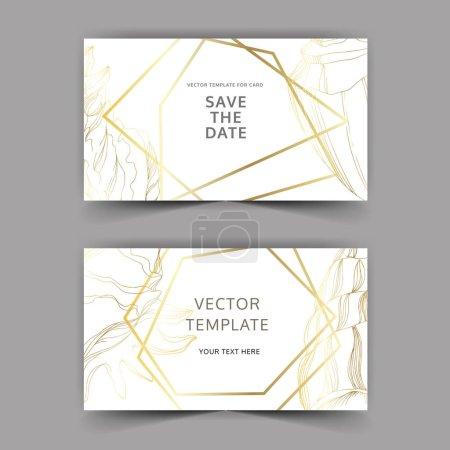 Illustration for Vector Summer beach seashell tropical elements. Golden engraved ink art. Wedding background card decorative border. Thank you, rsvp, invitation elegant card illustration graphic set banner. - Royalty Free Image