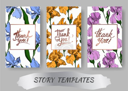 Illustration for Vector Iris floral botanical flowers. Black and white engraved ink art. Wedding background card decorative border. Thank you, rsvp, invitation elegant card illustration graphic set banner. - Royalty Free Image