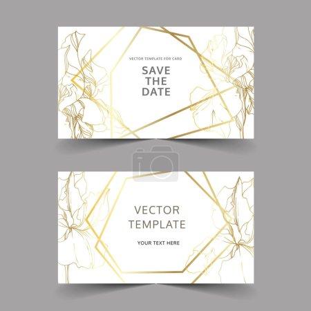 Illustration for Vector Iris floral botanical flowers. Black and white engraved ink art. Wedding background card decorative border. Thank you, rsvp, invitation elegant card illustration graphic set banner. - Royalty Free Image