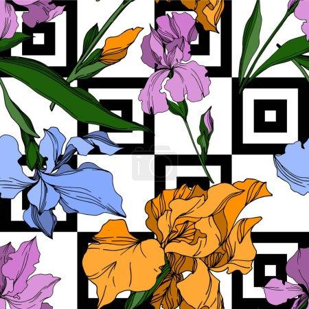 Photo pour Vecteur Iris fleurs botaniques florales. Feuille sauvage de printemps fleur sauvage isolée. Encre gravée en noir et blanc. Modèle de fond sans couture. Texture d'impression papier peint tissu . - image libre de droit