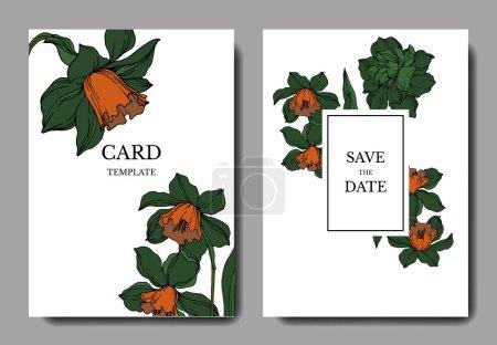 Illustration for Vector Narcissus floral botanical flowers. Black and white engraved ink art. Wedding background card decorative border. Thank you, rsvp, invitation elegant card illustration graphic set banner. - Royalty Free Image