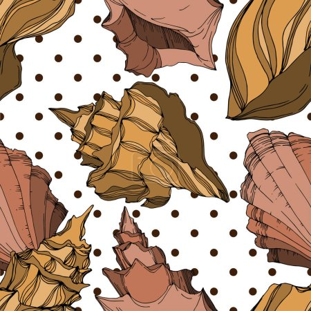 Illustration for Vector Summer beach seashell tropical elements. Black and white engraved ink art. Seamless background pattern. Fabric wallpaper print texture on white background. - Royalty Free Image