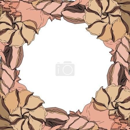 Illustration for Vector Summer beach seashell tropical elements. Black and white engraved ink art. Frame border ornament square on white background. - Royalty Free Image