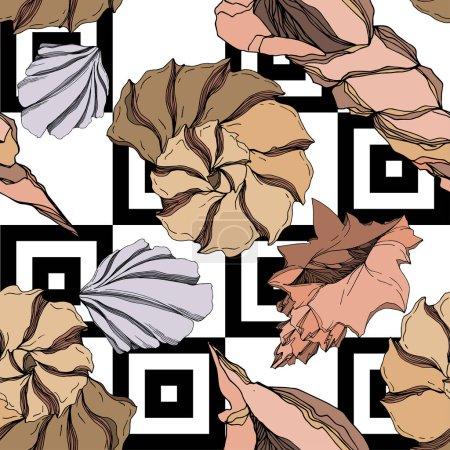Illustration pour Éléments tropicaux Vector Beach Summer Seashell. Encre noire et blanche gravée. Schéma de fond homogène. Texture des papiers peints sur fond blanc. - image libre de droit