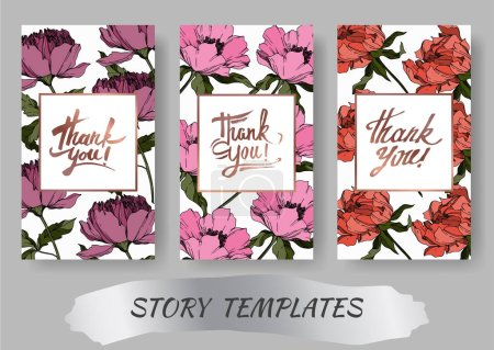 Illustration for Vector Peony floral botanical flowers. Black and white engraved ink art. Wedding background card decorative border. Thank you, rsvp, invitation elegant card illustration graphic set banner. - Royalty Free Image
