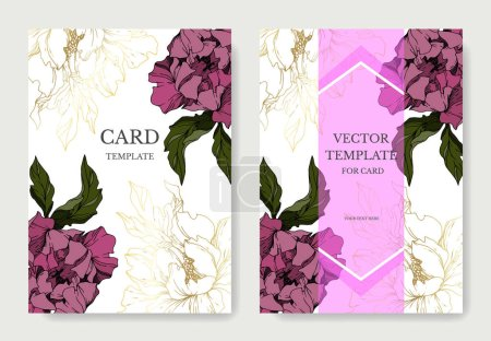 Illustration pour Vector Peony floral botanical flowers. Black and white engraved ink art. Wedding background card decorative border. Thank you, rsvp, invitation elegant card illustration graphic set banner. - image libre de droit