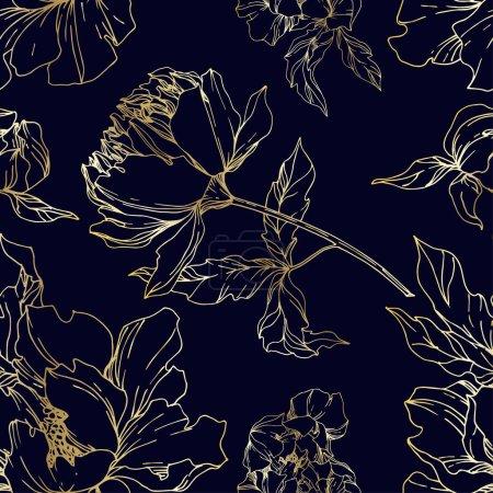 Ilustración de Vector Peony flores florales botánicas. Flora silvestre de manantial silvestre aislada. Arte de tinta grabada en blanco y negro. Modelo de fondo sin costuras. Fabric wallpaper imprime textura. - Imagen libre de derechos