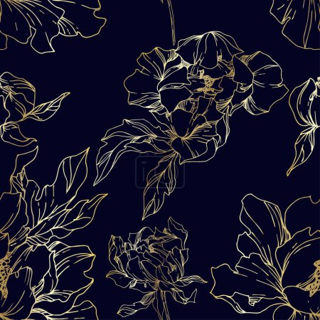 Illustration for Vector Peony floral botanical flowers. Wild spring leaf wildflower isolated. Black and white engraved ink art. Seamless background pattern. Fabric wallpaper print texture. - Royalty Free Image