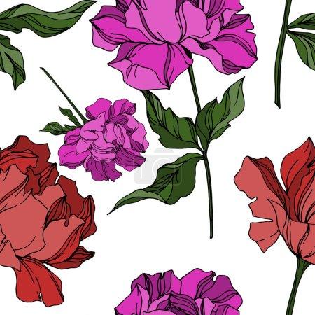 Illustration pour Vecteur Pivoine fleurs botaniques florales. Feuille sauvage de printemps fleur sauvage isolée. Encre gravée en noir et blanc. Modèle de fond sans couture. Texture d'impression papier peint tissu . - image libre de droit