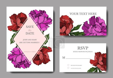 Illustration for Vector Peony floral botanical flowers. Black and white engraved ink art. Wedding background card floral decorative border. Thank you, rsvp, invitation elegant card illustration graphic set banner. - Royalty Free Image