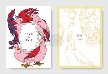Illustration for Vector Sky bird cockatoo in a wildlife. Black and white engraved ink art. Wedding background card decorative border. Thank you, rsvp, invitation elegant card illustration graphic set banner. - Royalty Free Image