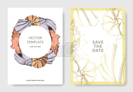 Illustration for Vector Summer beach seashell tropical elements. Black and white engraved ink art. Wedding background card decorative border. Thank you, rsvp, invitation elegant card illustration graphic set banner. - Royalty Free Image