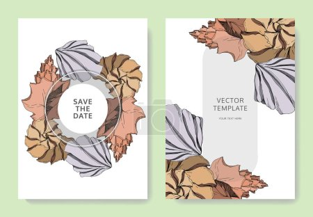 Illustration for Vector Summer beach seashell tropical elements. Black and white engraved ink art. Wedding background card decorative border. Thank you, rsvp, invitation elegant card illustration graphic set banner. - Royalty Free Image