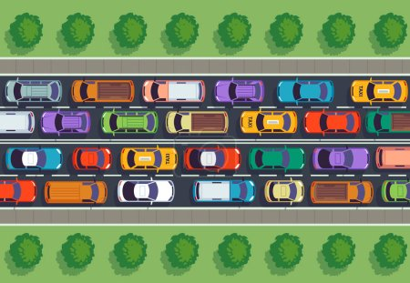 Traffic jam top view. Many cars on highway, different vehicles from above. Auto vector infographic