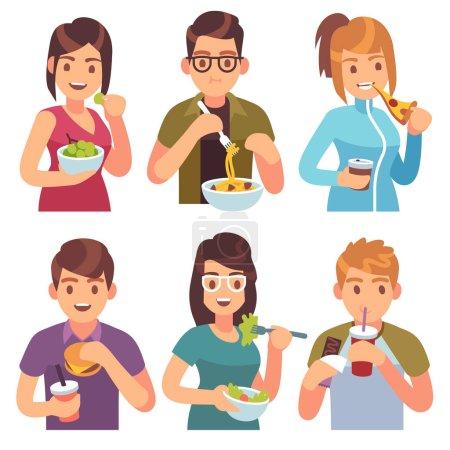 Menschen essen. Essen trinken Essen Männer Frauen gesund leckere Gerichte Mahlzeiten Café leckeres Mittagessen hungrige Freunde