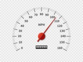 Realistic speedometer Car odometer speed counter dial meter rpm motor miles measuring scale white engine meter concept